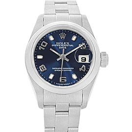 Rolex Date Blue Dial Oyster Bracelet Steel Ladies Watch 69160 Box Papers