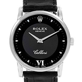 Rolex Cellini Classic White Gold Black Dial Watch 5116 Box Card