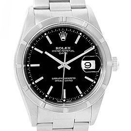 Rolex Date Black Dial Steel Mens Watch 15210 Box Papers