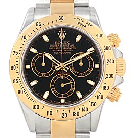 Rolex Daytona Steel Yellow Gold Black Dial Mens Watch 116523 Box Card