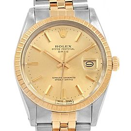 Rolex Date Mens Stainless Steel 18k Yellow Gold Mens Watch 15053