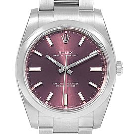 Rolex Oyster Perpetual Red Grape Dial Steel unisex Watch 114200 Unworn