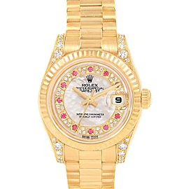 Rolex President Yellow Gold Myriad Diamond Ruby Dial Ladies Watch 179238