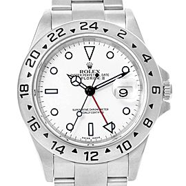 Rolex Explorer II 40mm White Dial Red Hand Mens Watch 16570