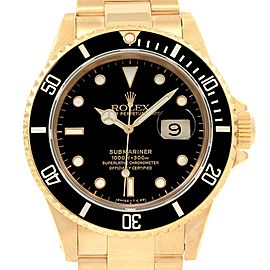 Rolex Submariner 18K Yellow Gold Black Dial 40mm Mens Watch 16618