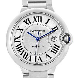 Cartier Ballon Bleu 42 Steel Automatic Mens Watch W69012Z4 Box Papers