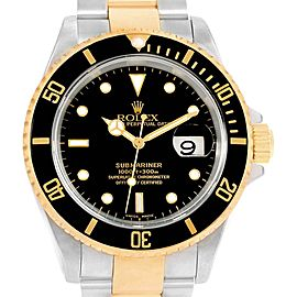 Rolex Submariner 40mm Steel Yellow Gold Mens Watch 16613 Box Papers