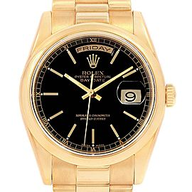 Rolex President Day Date Yellow Gold Black Dial Watch 118208 Box Papers