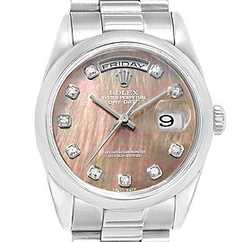 Rolex President Day-Date White Gold MOP Diamond Mens Watch 118209
