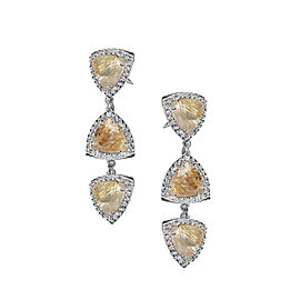Sterling Silver White Sapphires, Rutilated Quartz Earrings