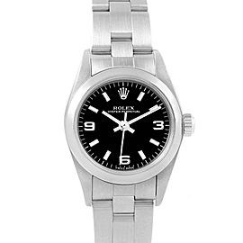 Rolex Oyster Perpetual Nondate Black Dial Ladies Watch 76080 Box