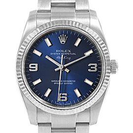 Rolex Air King Steel 18K White Gold Fluted Bezel Mens Watch 114234