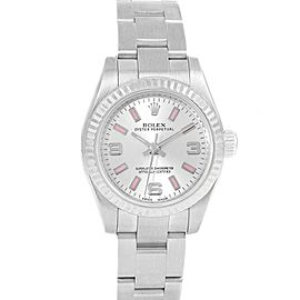 Rolex Nondate Steel White Gold Pink Hour Markers Ladies Watch 176234