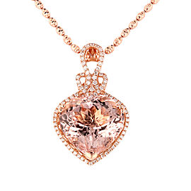 14KT Rose Gold Morganite and Diamond Pendant with Chain GIA CERTIFIED