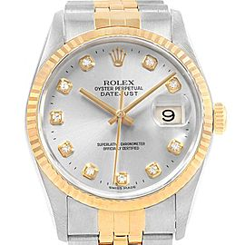 Rolex Datejust Steel Yellow Gold Diamond Dial Unisex Watch 16233 Box Papers