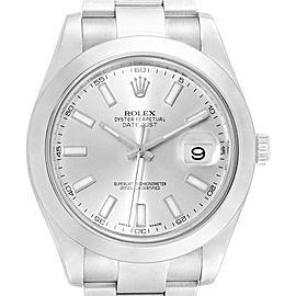 Rolex Datejust II Silver Baton Dial Steel Mens Watch 116300 Box Card