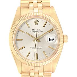 Rolex Date 14k Yellow Gold Fluted Bezel Vintage Mens Watch 1503