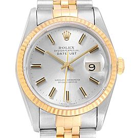 Rolex Datejust 36 Steel Yellow Gold Silver Dial Mens Watch 16233