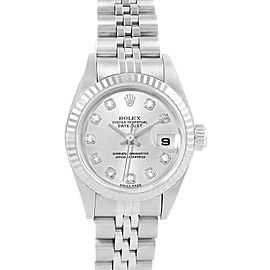 Rolex Datejust 26 Steel White Gold Diamond Dial Ladies Watch 79174