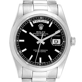 Rolex President Day-Date White Gold Black Dial Mens Watch 118209