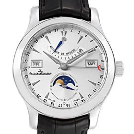 Jaeger Lecoultre Master Calendar Moonphase Steel Mens Watch 147.8.41.S