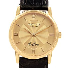 Rolex Cellini Classic Yellow Gold Decorated Dial Watch 5116 Box Papers
