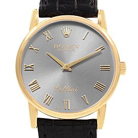 Rolex Cellini Classic 18k Yellow Gold Slate Roman Dial Watch 5116