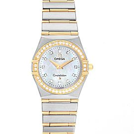 Omega Constellation 95 Steel Yellow Gold MOP Diamond Watch 1277.75.00