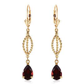3 CTW 14K Solid Gold Fleur De Lis Garnet Earrings