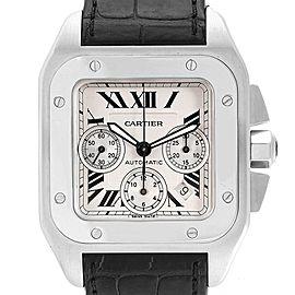 Cartier Santos 100 XL Silver Dial Black Strap Chronograph Watch W20090X8