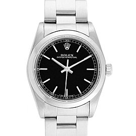 Rolex Midsize 31 Black Baton Dial Steel Ladies Watch 77080