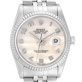 Rolex Datejust Steel White Gold MOP Dial Mens Watch 16234 Box Papers