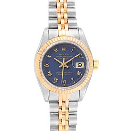 Rolex Datejust Steel Yellow Gold Blue Dial Ladies Watch 69173 Box Papers