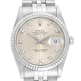 Rolex Datejust Steel White Gold Diamond Unisex Watch 16234 Box
