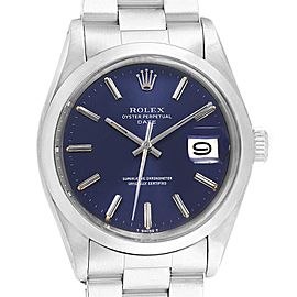 Rolex Date Blue Dial Stainless Steel Vintage Mens Watch 1500