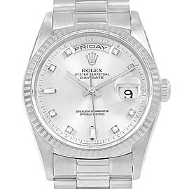 Rolex President Day-Date 18k White Gold Diamond Mens Watch 18239