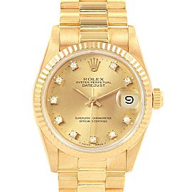 Rolex President Datejust 31 Midsize 18K Gold Diamond Watch 68278