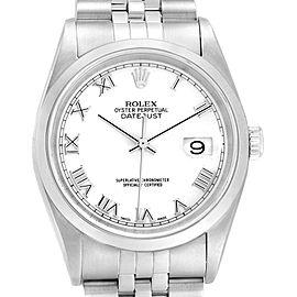 Rolex Datejust 36 White Roman Dial Jubilee Bracelet Mens Watch 16200