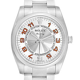 Rolex Air King Concentric Silver Orange Dial Unisex Watch 114200