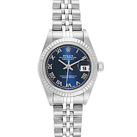 Rolex Datejust Steel White Gold Blue Roman Dial Ladies Watch 79174