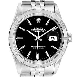 Rolex Turnograph Datejust Steel White Gold Black Dial Mens Watch 16264