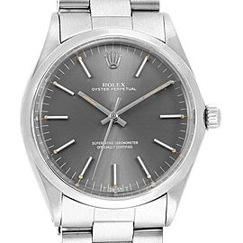 Rolex Oyster Perpetual Grey Dial Vintage Steel Mens Watch 1002