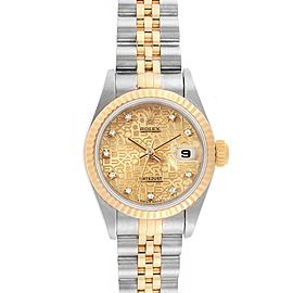 Rolex Datejust Steel Yellow Gold Anniversary Diamond Ladies Watch 69173