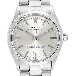 Rolex Oyster Perpetual Silver Dial Vintage Steel Mens Watch 1002