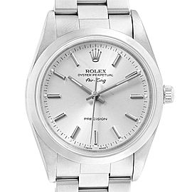 Rolex Air King 34 Silver Dial Oyster Bracelet Steel Mens Watch 14000