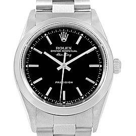 Rolex Air King 34 Black Dial Smooth Bezel Mens Watch 14000