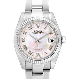 Rolex Datejust Midsize 31 Steel White Gold MOP Dial Ladies Watch 178274
