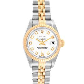 Rolex Datejust Steel Yellow Gold White Diamond Dial Ladies Watch 69173