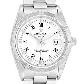 Rolex Date White Dial Oyster Bracelet Steel Mens Watch 15210