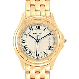 Cartier Cougar 18K Yellow Gold Silver Dial Unisex Watch 887904